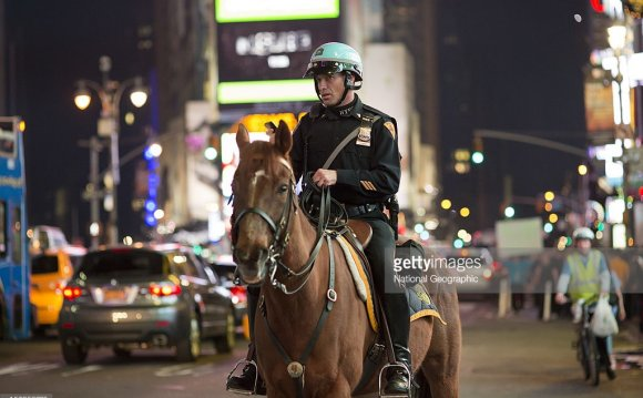 A horse mounted policeman in