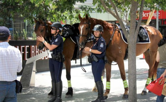 Mounted police officers and