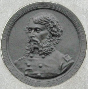Bas-relief of Colonel Sackett from rear of monument to the 9th New York Cavalry