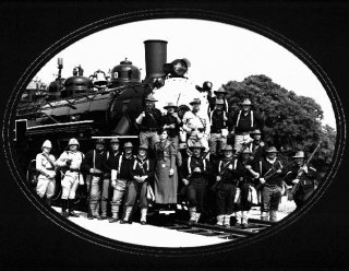 K Troop and compadres on the Texas railroad